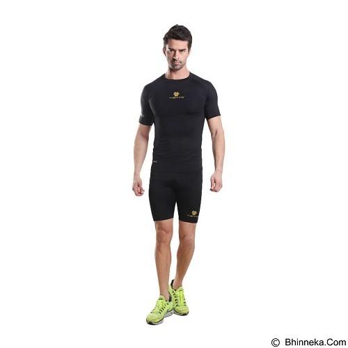 TIENTO Baselayer Manset Rash Guard Compression Short Sleeve Size XL - Black Gold - Kaos Pria