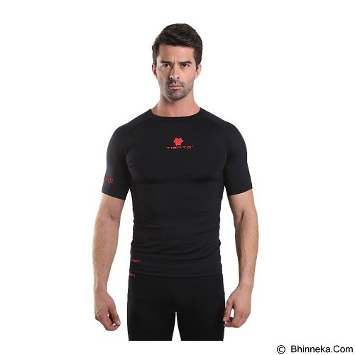 TIENTO Baselayer Manset Rash Guard Compression Short Sleeve Size XL - Black Red - Kaos Pria