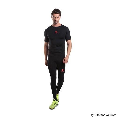 TIENTO Baselayer Manset Rash Guard Compression Short Sleeve Size XL - Black Red - Kaos Pria