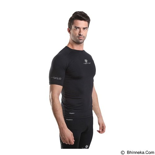 TIENTO Baselayer Manset Rash Guard Compression Short Sleeve Size XL - Black Silver - Kaos Pria