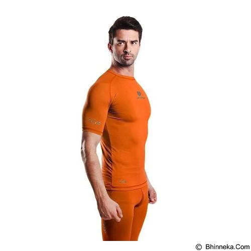 TIENTO Baselayer Manset Rash Guard Compression Short Sleeve Size XL  - Orange Silver - Kaos Pria