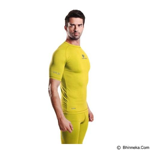 TIENTO Baselayer Manset Rash Guard Compression Short Sleeve Size XL - Yellow Silver - Kaos Pria