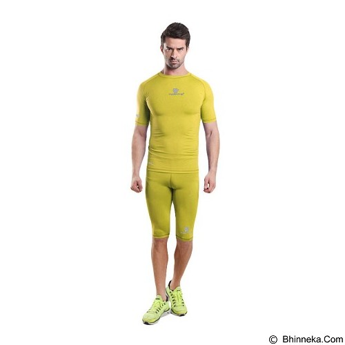 TIENTO Baselayer Manset Rash Guard Compression Short Sleeve Size XL - Yellow Silver - Kaos Pria
