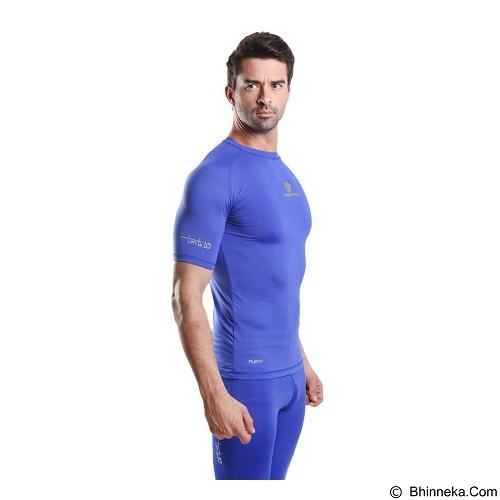 TIENTO Baselayer Manset Rash Guard Compression Short Sleeve Size XXL - Blue Silver - Kaos Pria