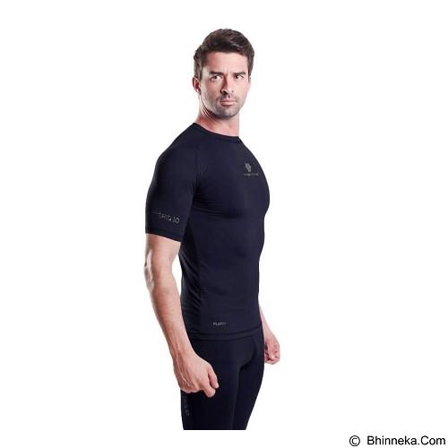 TIENTO Baselayer Manset Rash Guard Compression Short Sleeve Size XXL - Navy Silver - Kaos Pria