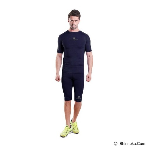 TIENTO Baselayer Manset Rash Guard Compression Short Sleeve Size XXL - Navy Silver - Kaos Pria