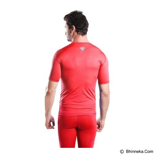 TIENTO Baselayer Manset Rash Guard Compression Short Sleeve Size XXL - Red Silver - Kaos Pria