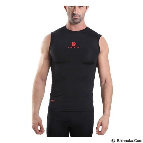 TIENTO Baselayer Manset Rash Guard Compression Sleeve Less Size L - Black Red - Singlet Pria
