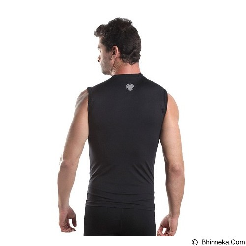 TIENTO Baselayer Manset Rash Guard Compression Sleeve Less Size L - Black Silver - Singlet Pria