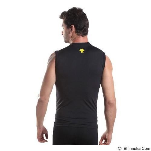 TIENTO Baselayer Manset Rash Guard Compression Sleeve Less Size M - Black Gold - Singlet Pria