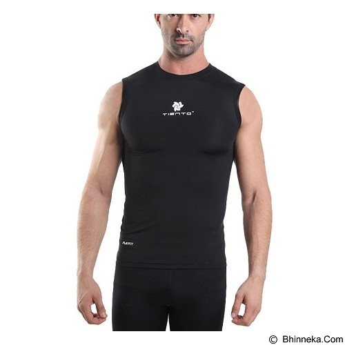 TIENTO Baselayer Manset Rash Guard Compression Sleeve Less Size M - Black White - Singlet Pria
