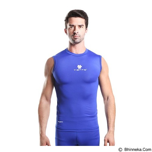 TIENTO Baselayer Manset Rash Guard Compression Sleeve Less Size M - Blue White - Singlet Pria