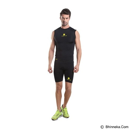 TIENTO Baselayer Manset Rash Guard Compression Sleeve Less Size XL - Black Gold - Singlet Pria