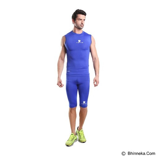 TIENTO Baselayer Manset Rash Guard Compression Sleeve Less Size XL - Blue White - Singlet Pria