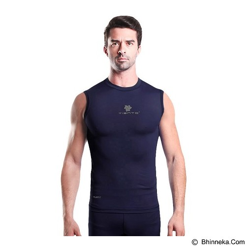 TIENTO Baselayer Manset Rash Guard Compression Sleeve Less Size XL - Navy Silver - Singlet Pria