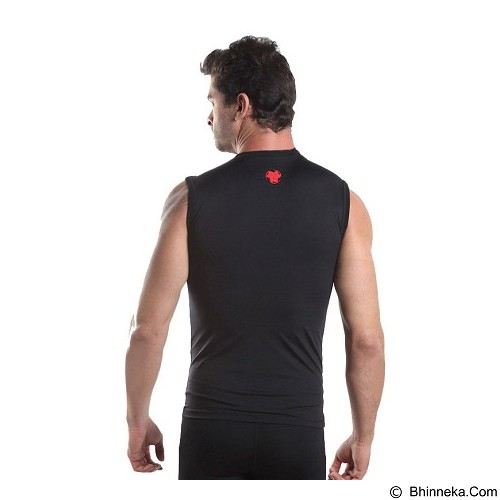TIENTO Baselayer Manset Rash Guard Compression Sleeve Less Size XXL - Black Red - Singlet Pria