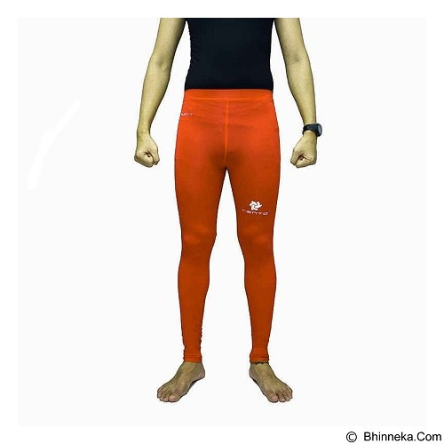 TIENTO Baselayer Manset Rashguard Compression Long Pants Size XL - Orange Silver (Merchant) - Celana Olahraga Pria