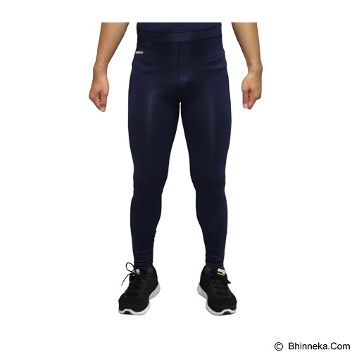 TIENTO Baselayer Manset Rashguard Compression Long Pants Typotype Size S - Navy White (Merchant) - Celana Olahraga Pria