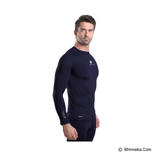 TIENTO Baselayer Manset Rashguard Compression Long Sleeve Size M - Navy White (Merchant) - Kaos Pria