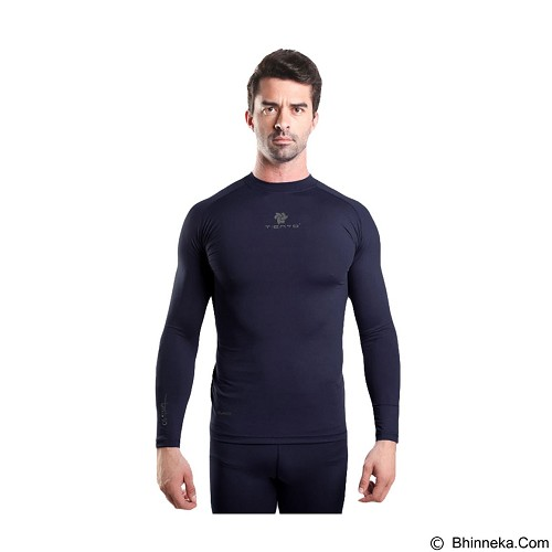 TIENTO Baselayer Manset Rashguard Compression Long Sleeve Size S - Navy Silver (Merchant) - Kaos Pria