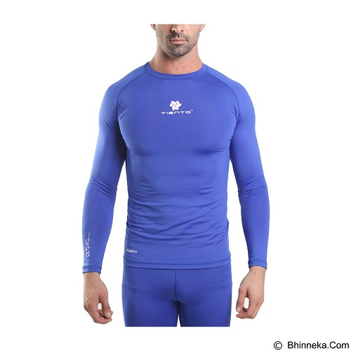 TIENTO Baselayer Manset Rashguard Compression Long Sleeve Size XL - Blue White (Merchant) - Kaos Pria
