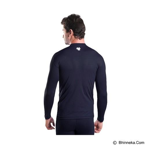 TIENTO Baselayer Manset Rashguard Compression Long Sleeve Size XXL - Navy White (Merchant) - Kaos Pria