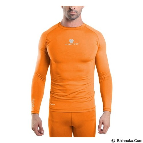 TIENTO Baselayer Manset Rashguard Compression Long Sleeve Size XXL - Orange Silver (Merchant) - Kaos Pria