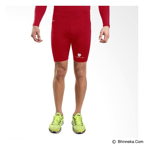 TIENTO Baselayer Manset Rashguard Compression Short Pants Size M - Red White (Merchant) - Celana Olahraga Pria