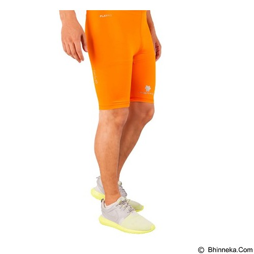 TIENTO Baselayer Manset Rashguard Compression Short Pants Size XL - Orange Silver (Merchant) - Celana Olahraga Pria