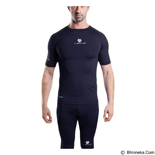 TIENTO Baselayer Manset Rashguard Compression Short Sleeve Size S - Navy White (Merchant) - Kaos Pria
