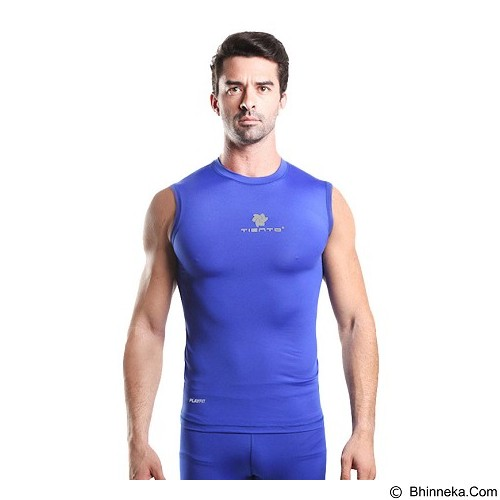 TIENTO Baselayer Manset Rashguard Compression Sleeve Less Size XXL- Blue Silver (Merchant) - Singlet Pria