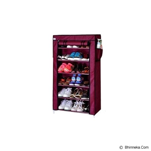 TOKO BAGUS INDO Multifunction Rack With Cover 6 Grid - Red Wine - Rak Serbaguna