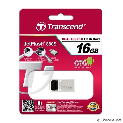 TRANSCEND JetFlash OTG 880 16GB - Silver - Usb Flash Disk Dual Drive / Otg