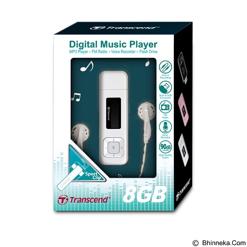 TRANSCEND MP3 Player 8GB with FM Tuner [DKA-TS8GMP330W] - White - Mp3 Players