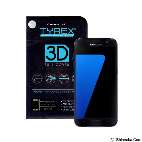 TYREX 3D Full Cover Tempered Glass for Samsung Galaxy S7 Edge - Gold (Merchant) - Screen Protector Handphone