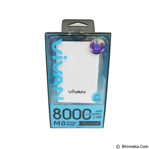 VIVAN Powerbank 8000mAh [M8] - White (Merchant) - Portable Charger / Power Bank