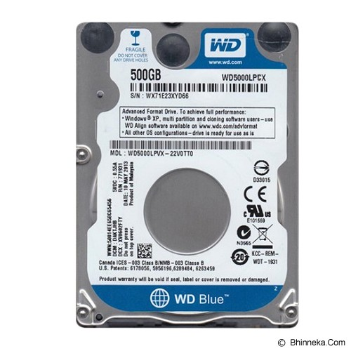 WD Scorpio Blue [WD5000LPCX] - Hdd Internal Sata 2.5 Inch