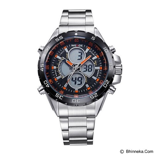 WEIDE Jam Tangan Pria Japan Quartz Stainless Strap LED Sports [WH1103] - Orange (Merchant) - Jam Tangan Pria Fashion