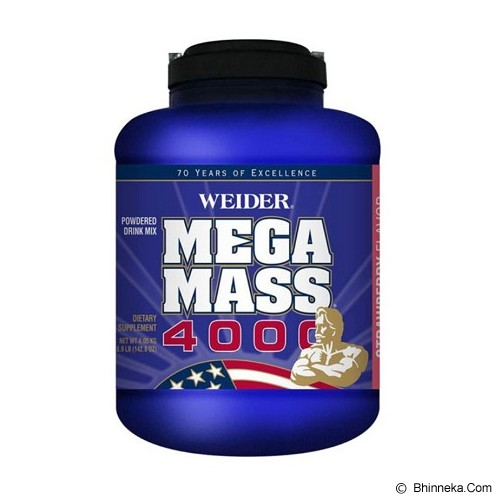 WEIDER Mega Mass 4000 8.9lbs [WE-MEGAMASS4000-001-89] - Strawberry - Suplement Peningkat Metabolisme Tubuh
