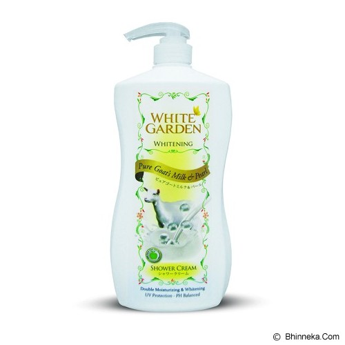WHITE GARDEN Shower Cream Pure Goat's Milk & Pearl 1100ml - Sabun Mandi