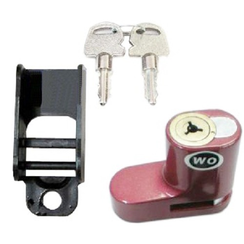 WO Disc Brake Lock - Red - Kunci Cakram Motor