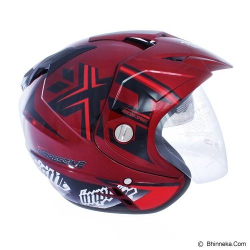 WTO Helmet Impressive Crossline Size L - C.Red Black - Helm Motor Half Face