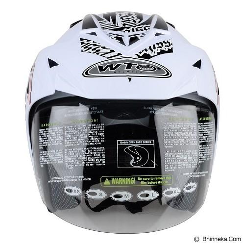 WTO Helmet Impressive Crossline Size L - Putih Hitam - Helm Motor Half Face