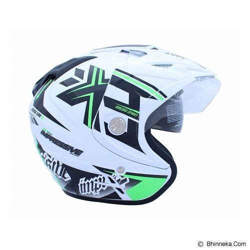 WTO Helmet Impressive Crossline Size M - Putih Hijau Neon - Helm Motor Half Face