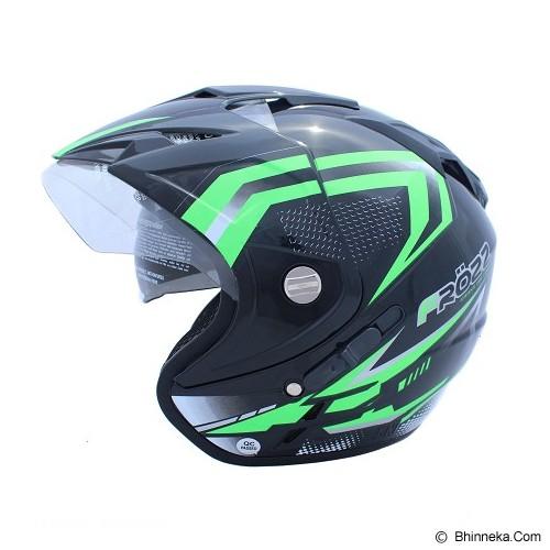 WTO Helmet Impressive Frozz Size XL - Hitam Hijau Neon - Helm Motor Half Face
