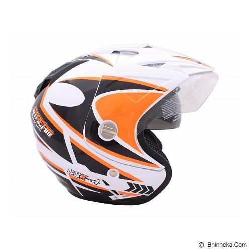 WTO Helmet Impressive SSX-4 Size M - Putih Oren Neon - Helm Motor Half Face
