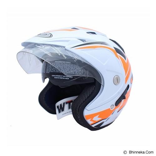WTO Helmet Impressive Vegas Size L - Putih Oren Neon - Helm Motor Half Face