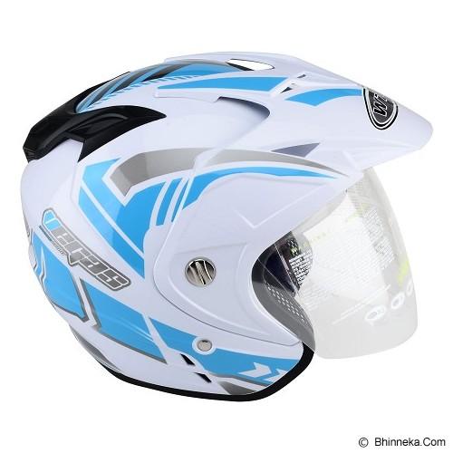 WTO Helmet Impressive Vegas Size XL - Putih Biru - Helm Motor Half Face