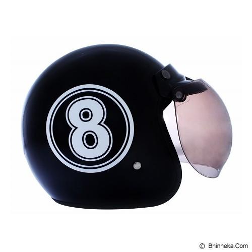 WTO Helmet Retro 8 Size L - Hitam Putih - Helm Motor Half Face