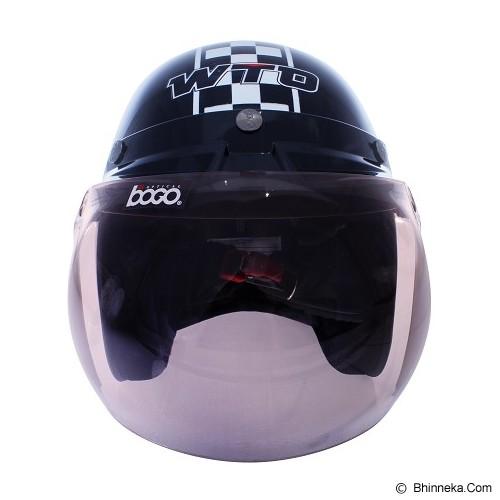 WTO Helmet Retro 8 Size XL - Hitam Putih - Helm Motor Half Face